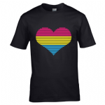 Premium LGBT Heart Design With Pansexual Pride Flag Motif Black t-shirt tshirt top